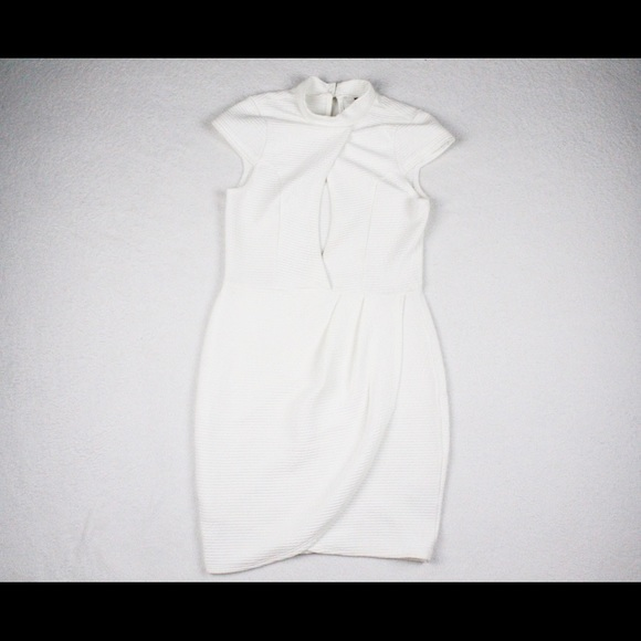 8b3e00dbd335 Windsor Dresses | Ivory Keyhole Cap Sleeve Wrap Fitted Party Dress ...